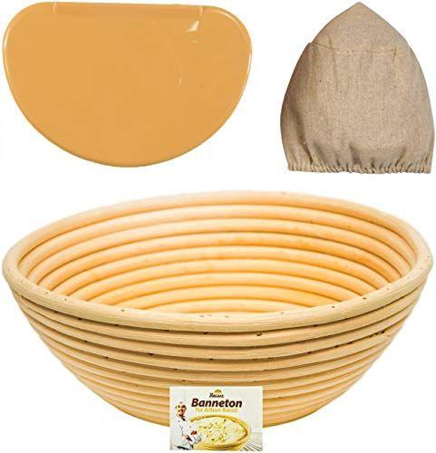 Round Oval Bread Proofing Proving Basket Rattan Banneton Brotform Dough w// Liner