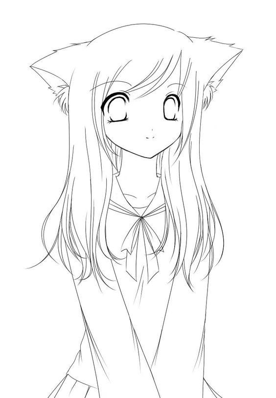 Line Drawing Of Girl : Adorable neko anime girl line art favs pinterest