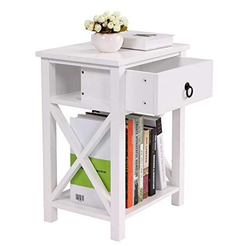 Bedroom White/&Pink Nightstand End Table Bedstand Night Table w//Open Shelf Mount