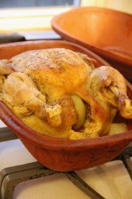 Nana S Romertopf Chicken Recipe Onions Cases And Potatoes