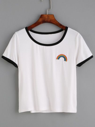 Shop White Contrast Trim Rainbow Embroidered T-shirt online. SheIn offers White Contrast Trim Rainbow Embroidered T-shirt & more to fit your fashionable needs.