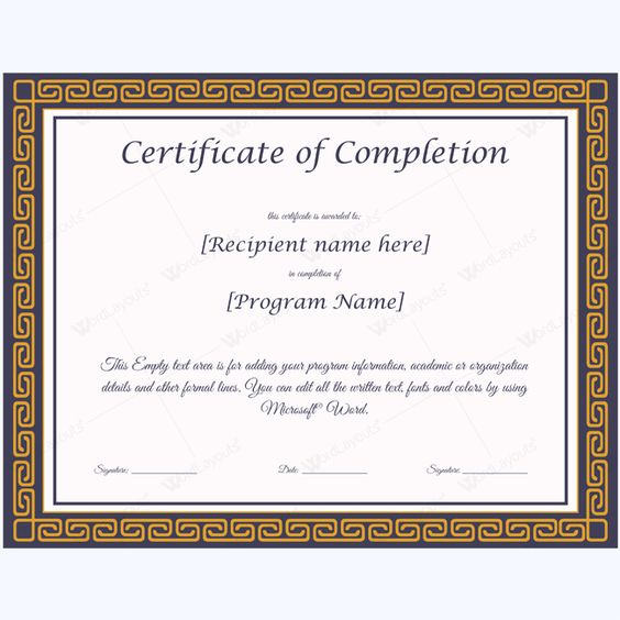 Templates Certificate of Completion Templates Certificate of - sample certificate of completion