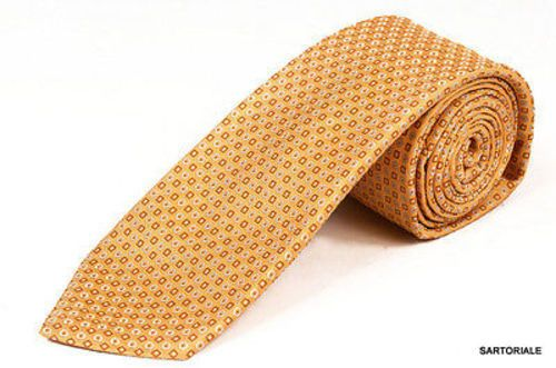 KITON Napoli Hand-Made Seven Fold Beige Circle & Square Medallion Silk Tie NEW