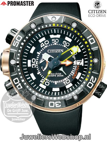 Citizen BN2025-02E duikhorloge Promaster Aqualand Eco Drive Edelstaal PVD Goudkleurig verguld