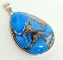 $19.99  Copper Turquoise 925 Sterling Silver Pendant--Large size
