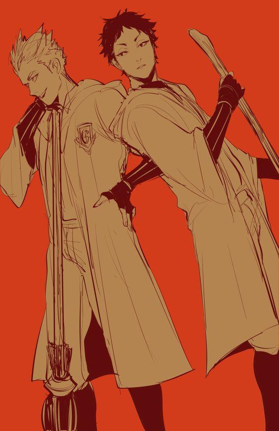 Akaashi , Bokuto || Haikyuu and HP crossover