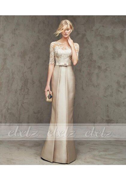 Custom Mermaid Mother Of The Bride Dress Floor Length Gold Satin Trumpet Ball #DressSuit