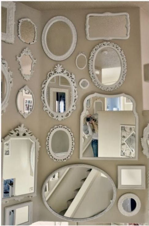 Different sizes and different shape mirrors all in white for Different sized mirrors
