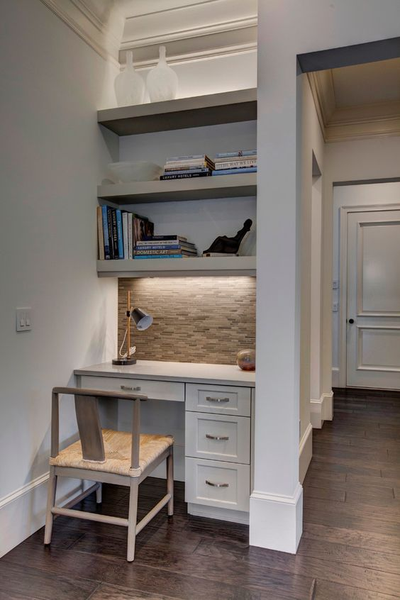 aesthetic shelves over desk decorating ideas in home office transitional design ideas with aesthetic beige tile: kitchen cabinets home office transitional