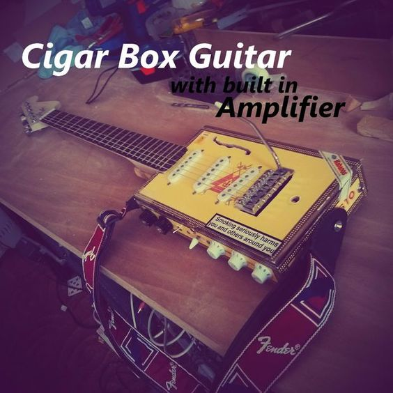 Electric Cigar-Box guitar w/ Built in amplifier