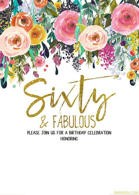 FREE Printable 60th Birthday Invitation Templates