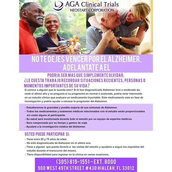 No te dejes vencer por el Alzheimer, llamenos o mandenos un mensaje de texto para mas información al 786-343-2486
