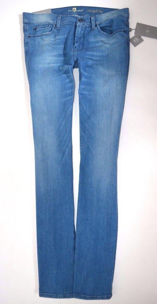 New 7 For All Mankind Stretch Slim Straight Swarovski Jeans Size