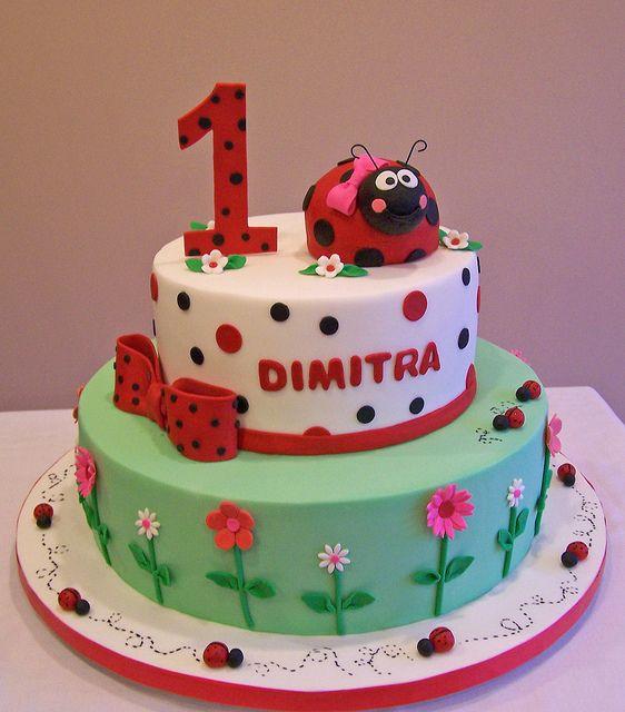 Ladybug First Birthday Cake by cakespace - Beth (Chantilly Cake Designs), via Flickr