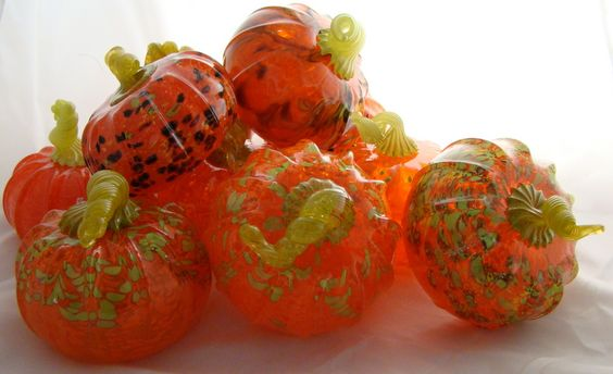 Group of glass pumpkins made at Conway Glass. www.conwayglass.com