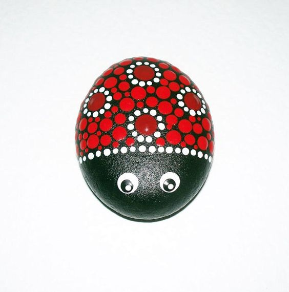 Ladybird ladybug hand painted pebble stone by CornishMaidPebbles