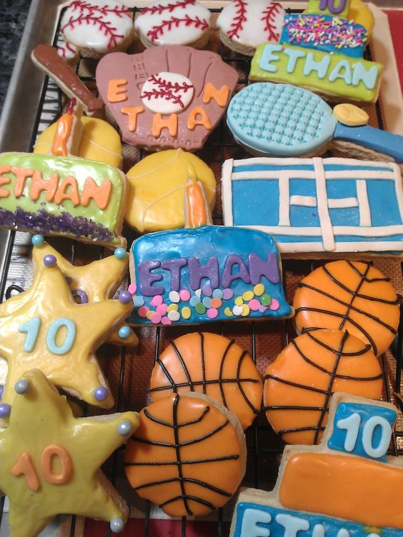 birthday cookies for fav 10 year old all around athlete.