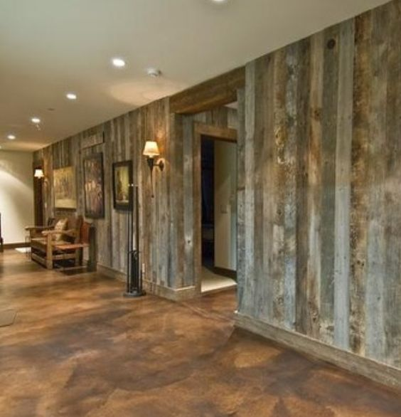 Rustic Decor With Cement Accent Wall: Barn Wood Walls, Stained Concrete And Barn Wood On Pinterest