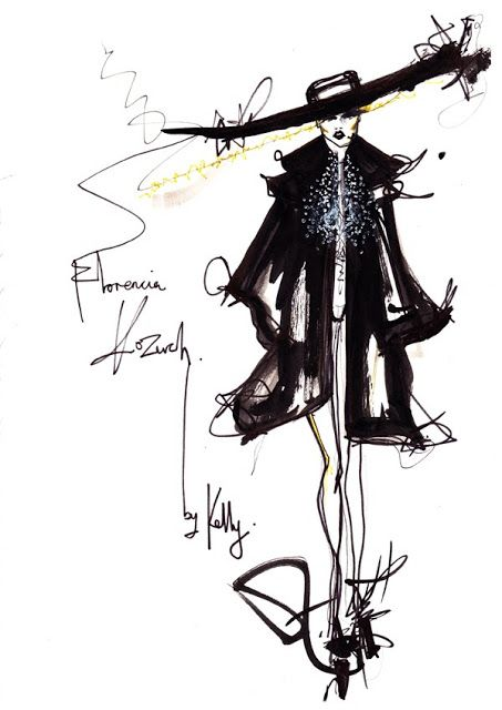 The Fashion Scout: Live catwalk illustration at Florencia Kozuch by Kelly Sheppard