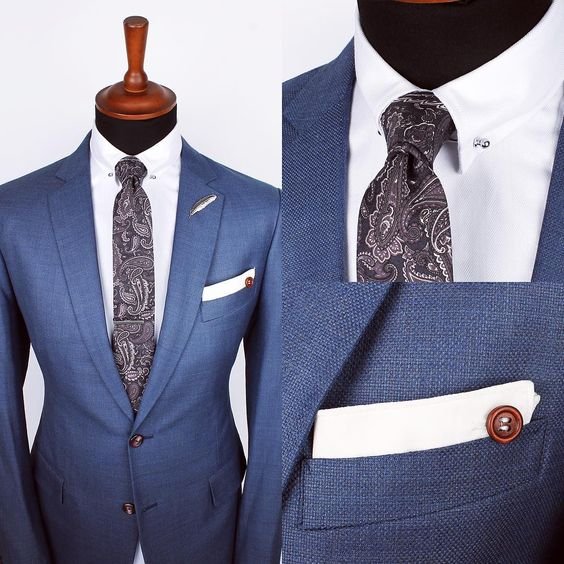 """The Grayscale paisley tie, Silver feather lapel pin and White edge ps over the Herringbone white collar-bar shirt   www.Grandfrank.com"""