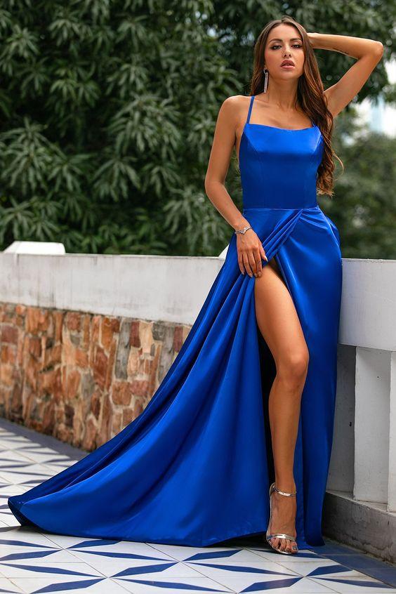 Vestidos longos elegante azul