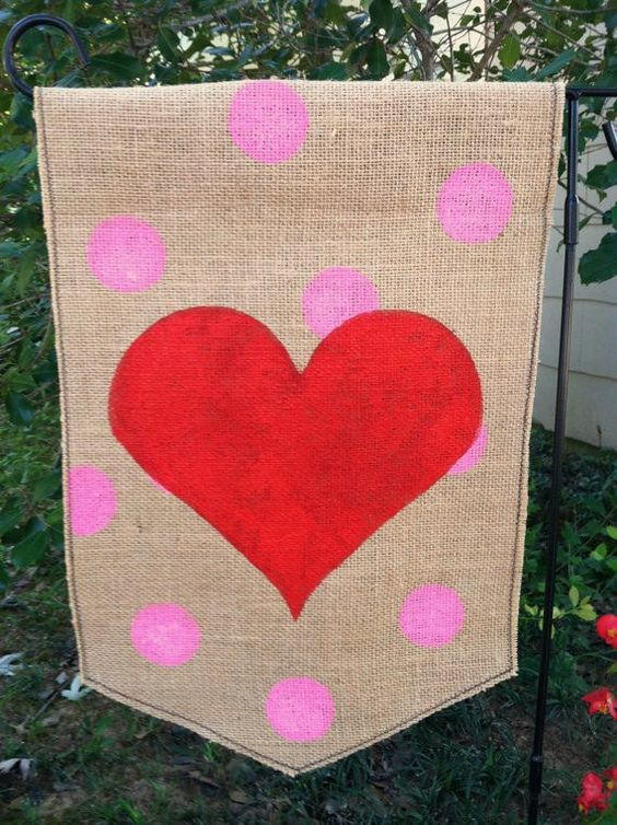 Burlap Garden Flag for Valentines Day. $20.00, via Etsy.