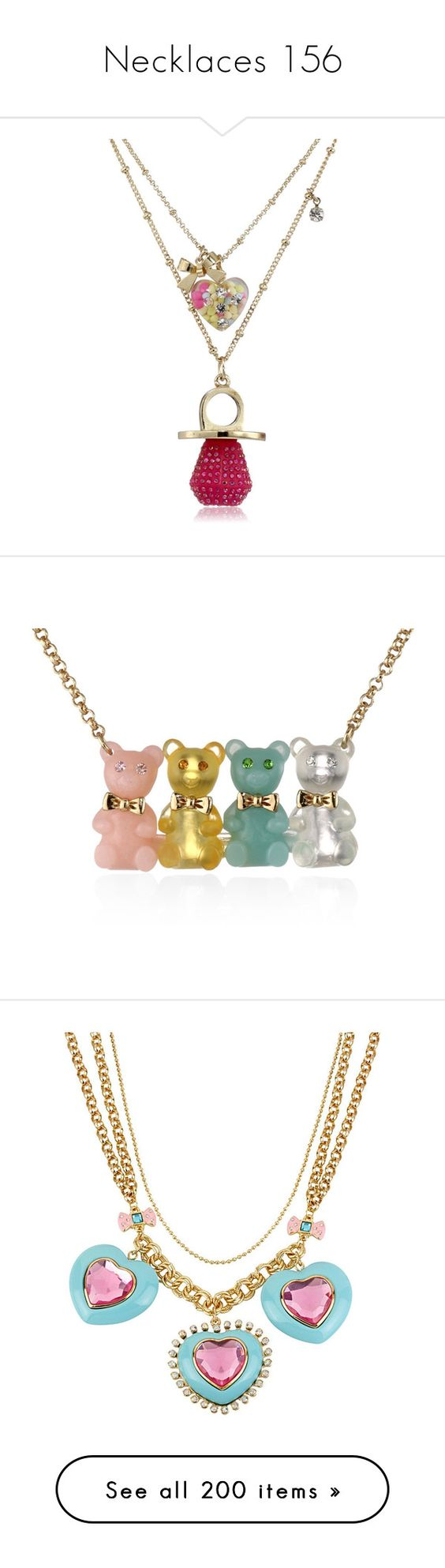 """""""Necklaces 156"""" by singlemom ❤ liked on Polyvore featuring jewelry, necklaces, betsey johnson necklace, pendant necklace, betsey johnson jewelry, betsey johnson, pendant jewelry, bear necklace, betsey johnson jewellery and bear jewelry"""