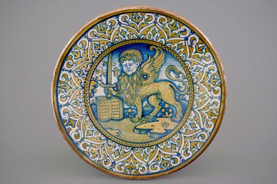 Een schotel met de leeuw van Sint-Marcus, Deruta, ca. 1540
