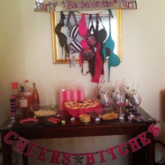I wouldn 39 t have the bras hanging up but i like the little for Bachelorette party decoration ideas
