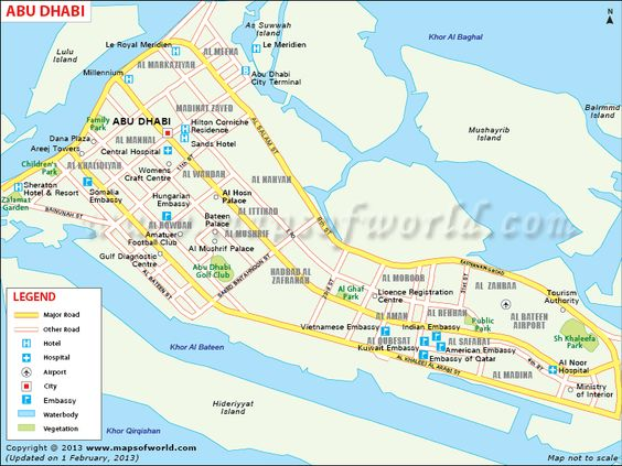 Map of Abu Dhabi City showing roads tourist places church – Abu Dhabi Dubai Map