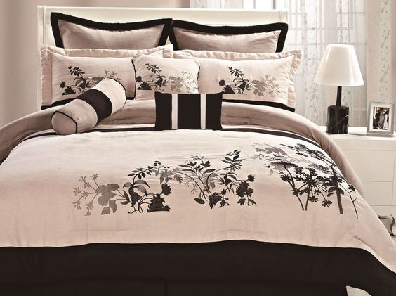 7pcs Asian Tan Black Microfiber Embroidered Comforter Set Queen New #Asian