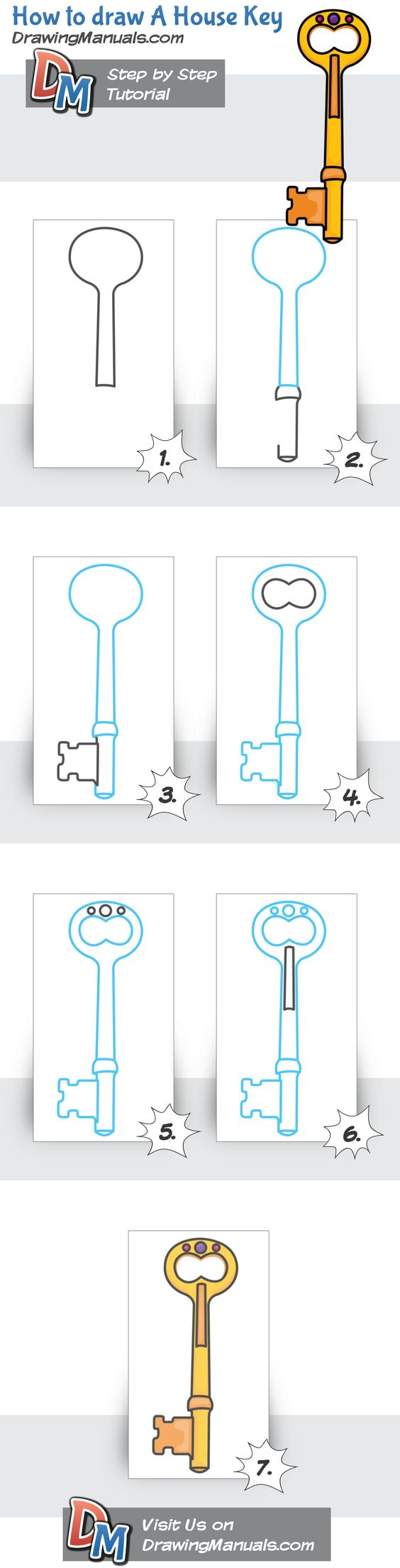 How to draw A House Key