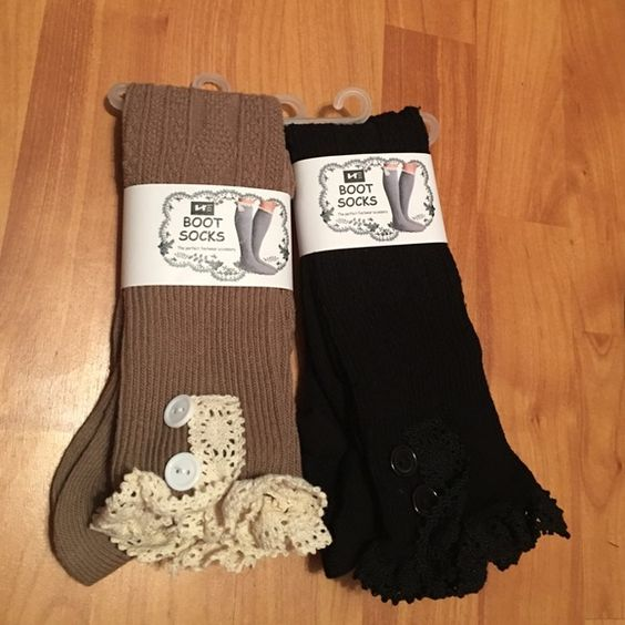 Two pairs of boot socks Two pairs of boot socks. Brand new! The purchase comes with both! I already have a pair of both of these. They are very comfy and look super cute with a pair of boots! Other