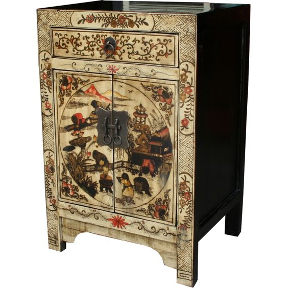 Cream Painted Bedside Table::Bedside Tables::Chinese Furniture::Chinese Antique Furniture - Asian Furniture - Oriental Furniture