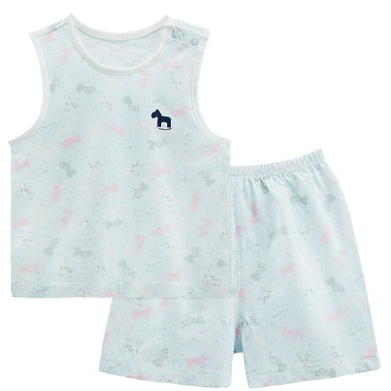 Infant Vest&Shorts 2 Pieces Baby Toddler Underwear Set Printing Blue 6-9M