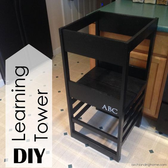 Diy learning tower based on plans by ana white learning for Learning tower woodworking plans