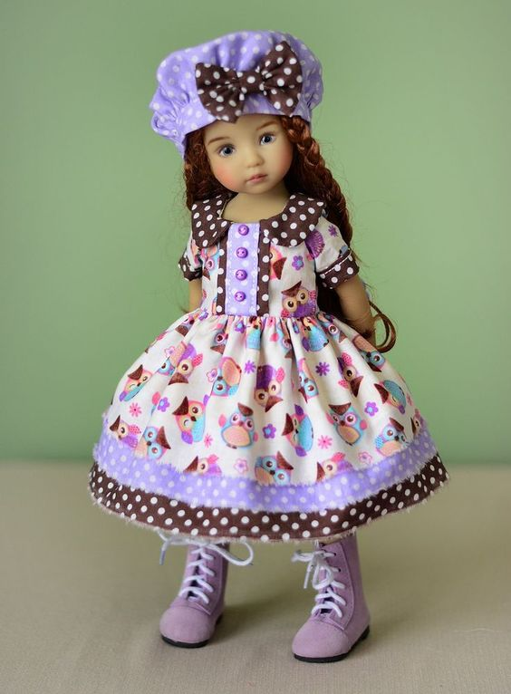 """""""Owl Fashion"""" Dress, Outfit, Clothes for 13"""" Dianna Effner Little Darling #LuminariaDesigns"""