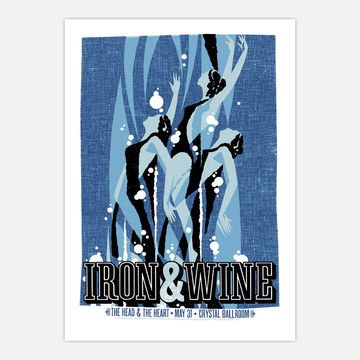 Even if you didn't catch Iron and Wine live, you can still rock a hand-pulled, signed and numbered show poster. Let your fan flag wave proudly with this hand-silkscreened print in five colors. By proudly displaying this poster, you'll be the shepherd's dog—like the cat's meow, but with more Indie cred.      $17.50fab        $25 retail price