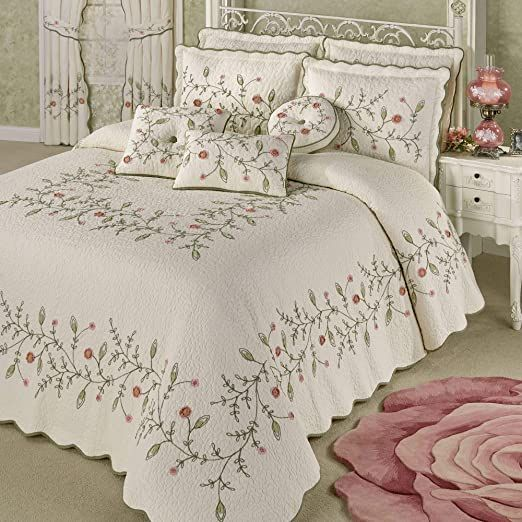 Touch Of Class Pretty Posy Grande Bedspread Ivory Designer Bed Sheets Bed Linens Luxury Bed Cover Design Touch of class bedspreads and comforters