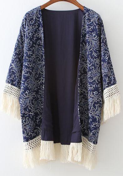 Kimono décontracté à franges floral -bleu marine -French SheIn(Sheinside) Je le veux tellement pour le printemps