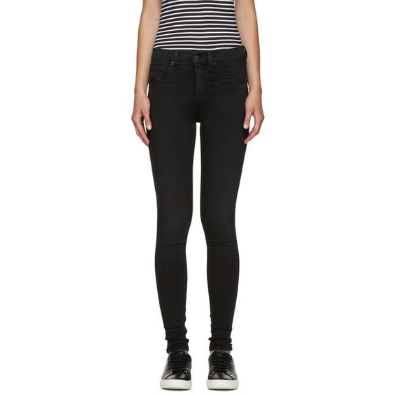 Rag and Bone Black Skinny Jeans ($175) ❤ liked on Polyvore featuring jeans and washed black