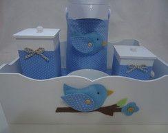 Kit Higiene Bebê Passarinho Azul c/ Gar