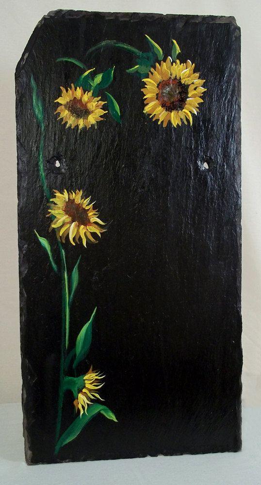 Original Garden Art on Slate Shingle- Sunflowers