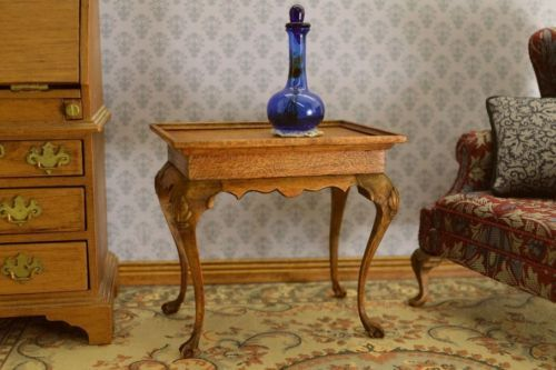 OOAK hand carved cherry wood Queen Anne tea table dollhouse miniature 1:12 scale
