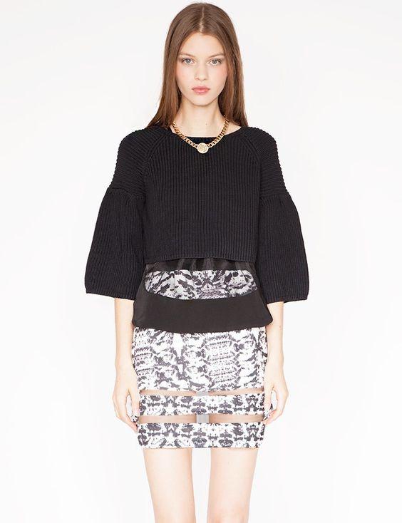 Organza bell sleeve sweater $48.00