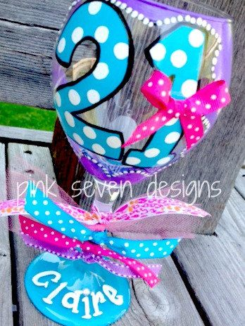 21st Birthday Wine Glass DOTS by pinksevendesigns on Etsy