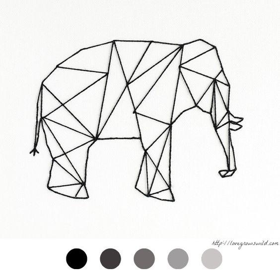 Elephant l phant diy d co tableau clou fil for Tuto peinture mur