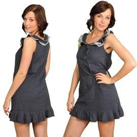 Vero Moda Captain Sl Mini Dress Kleid Dunkelblau Weiß