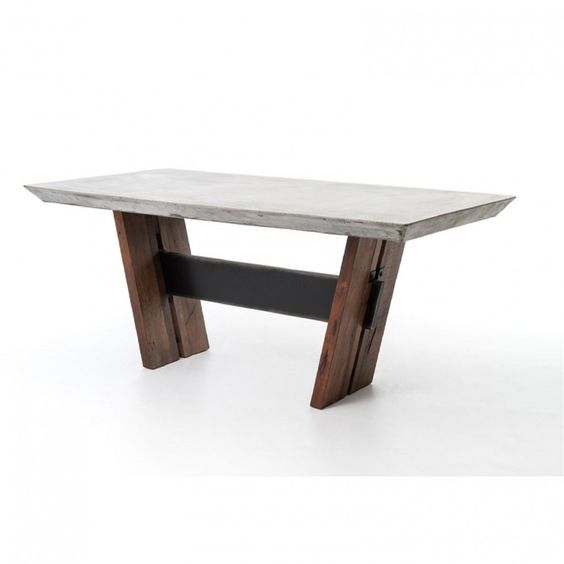 The Bonham Dining Table Is Alternative Take On An Environmentally Friendly  Design. A Concrete Top Rests Over Two Legs Constructed Of Reclaimed And  Recycled ...