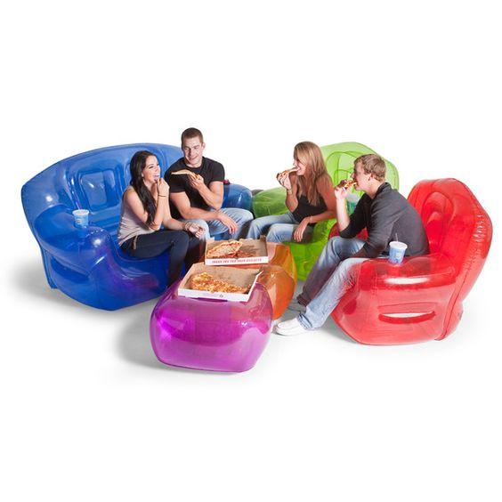 Inflatable furniture set looks like theyre sitting on giant gummi